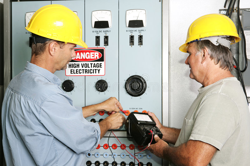 Industrial Electricians stock photo