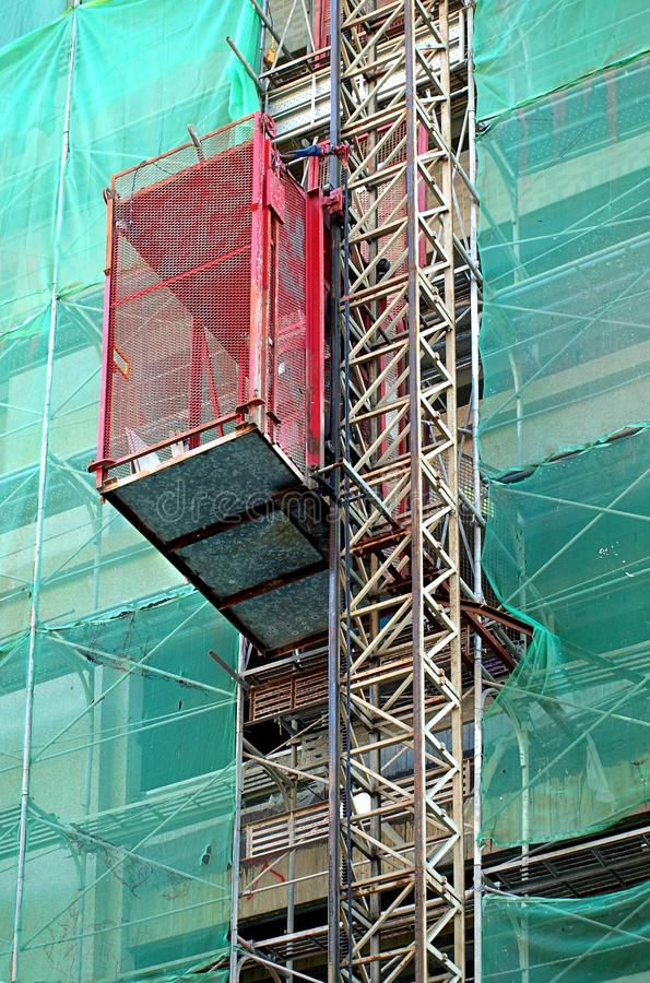 Industrial Elevator at Building Site stock images