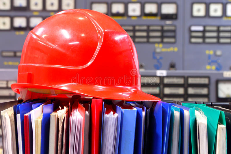 Industrial equipment. Helmet, drawing. Control panel. royalty free stock images