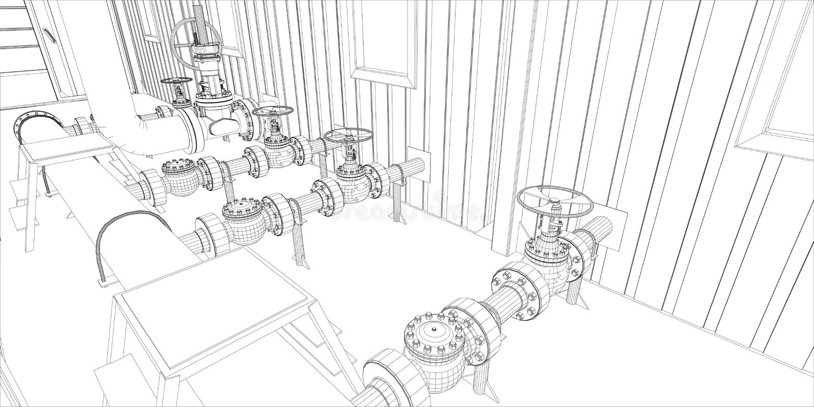 Industrial equipment. Wire-frame 3d render royalty free illustration