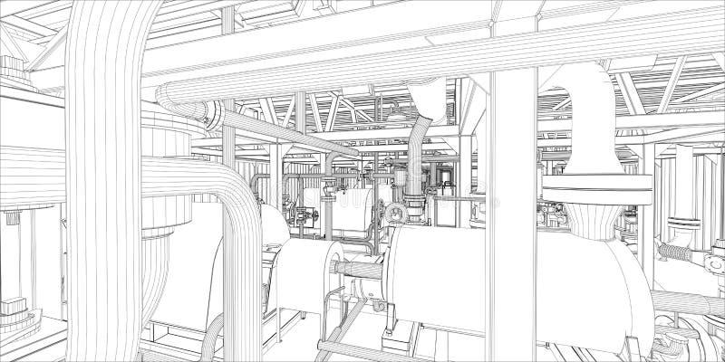 Download Industrial Equipment. Wire-frame 3d Render Stock Illustration - Image: 36562555