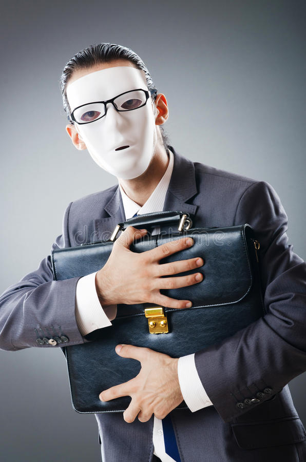 Industrial Espionate Concept - Masked Businessman Royalty Free Stock Image