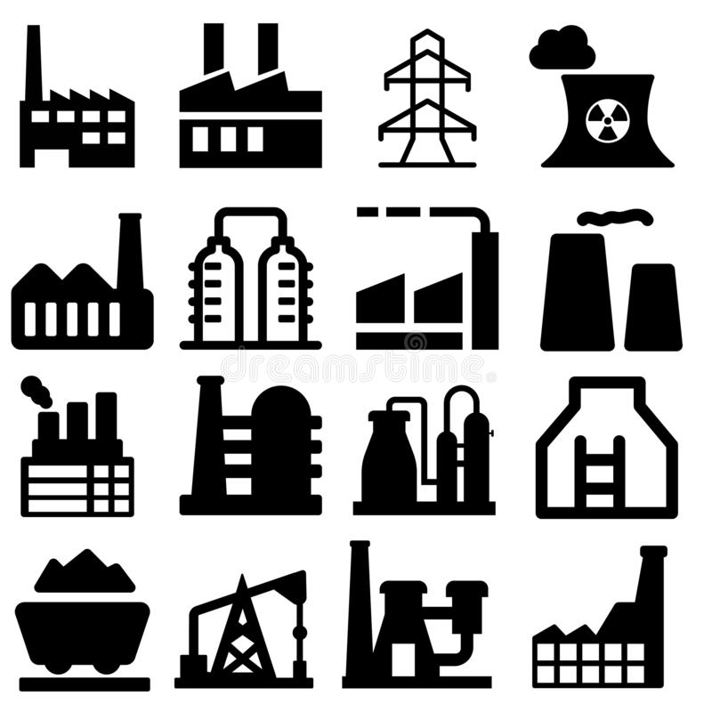 Industrial factories  icons set. Factory icon illustration. Industry power,  chemical manufacturing building warehouse nucle royalty free illustration