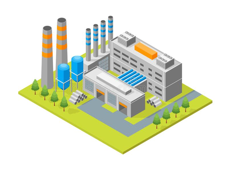 Industrial Factory Building Isometric View. Vector. Industrial Factory Building and Pipe or Tower Isometric View Architecture Modern Exterior Facade for Web and vector illustration