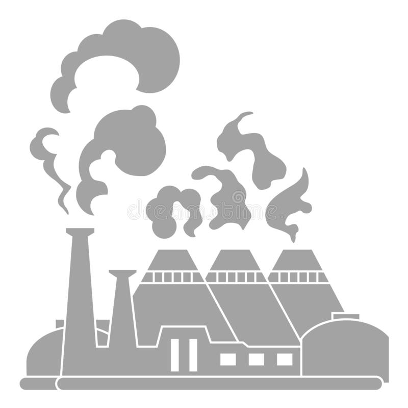 Industrial factory building. Silhouette nuclear power plant. Flat vector icon. Industry concept manufactory chimney pipe stock illustration
