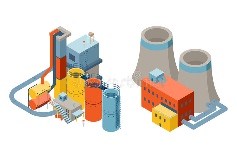 Industrial factory buildings, 3d isometric flat. Icons. Nuclear and electricity, chimney power factory. Vector illustration royalty free illustration