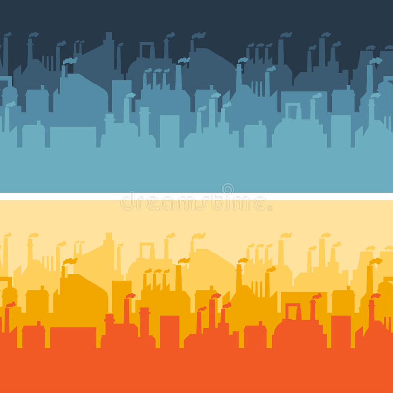 Industrial factory buildings horizontal banners vector illustration