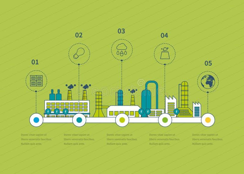 Industrial factory buildings illustration stock illustration