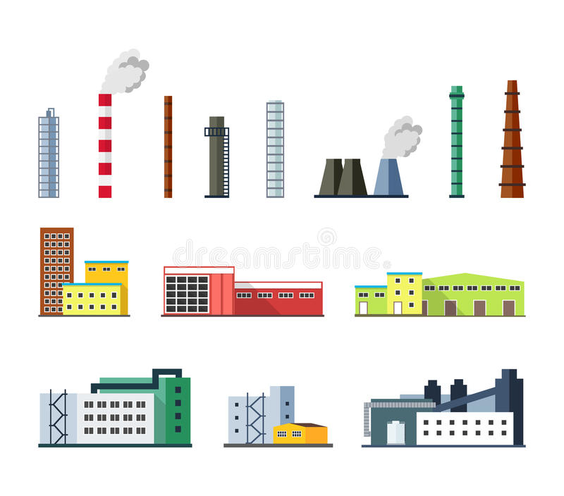 Industrial factory buildings set in flat design style. stock illustration