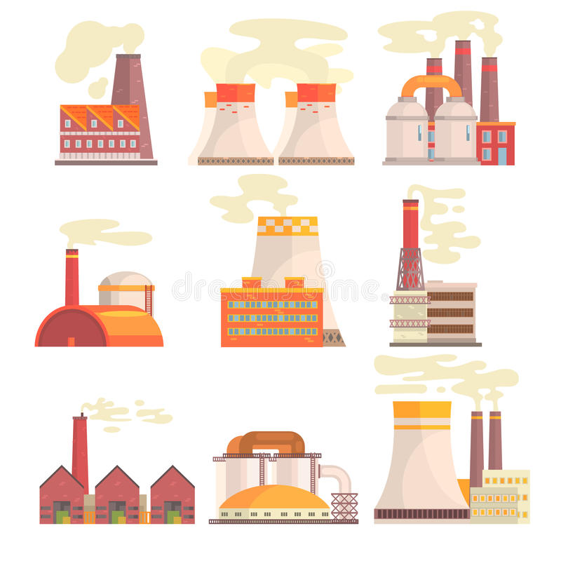 Industrial factory buildings set. Modern power plants colorful vector Illustrations vector illustration