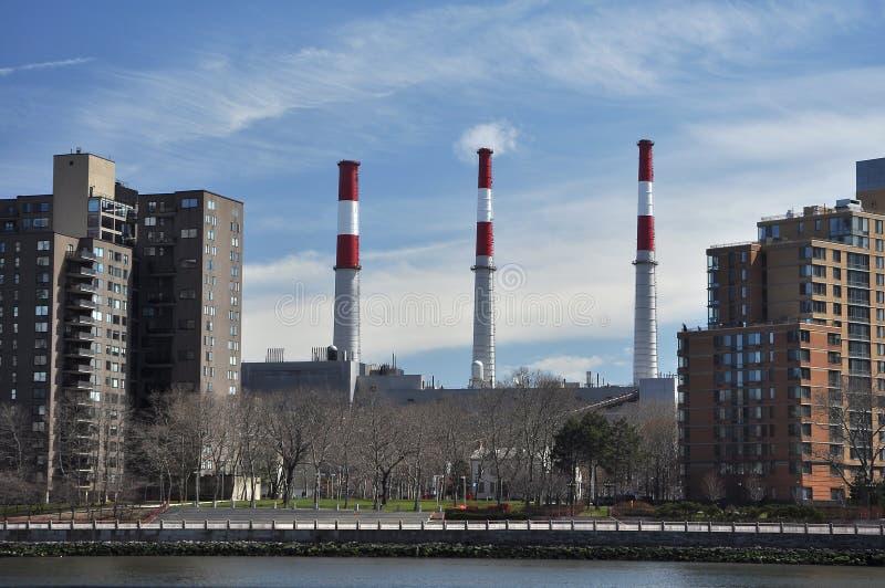 Industrial Factory Chimneys In Queens stock image