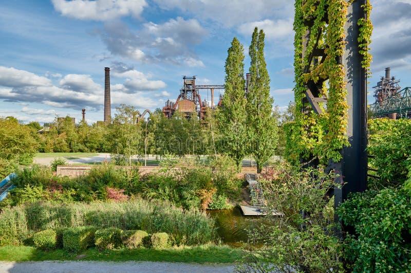 Industrial factory in Duisburg, Germany. Abandoned Industrial factory in Duisburg, Germany. Public park Landschaftspark, landmark and tourist attraction stock image