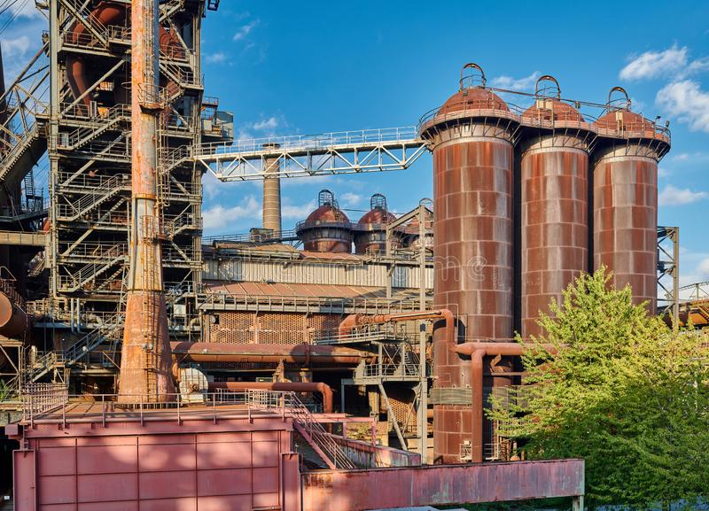 Industrial factory in Duisburg, Germany. Abandoned Industrial factory in Duisburg, Germany. Public park Landschaftspark, landmark and tourist attraction royalty free stock photo