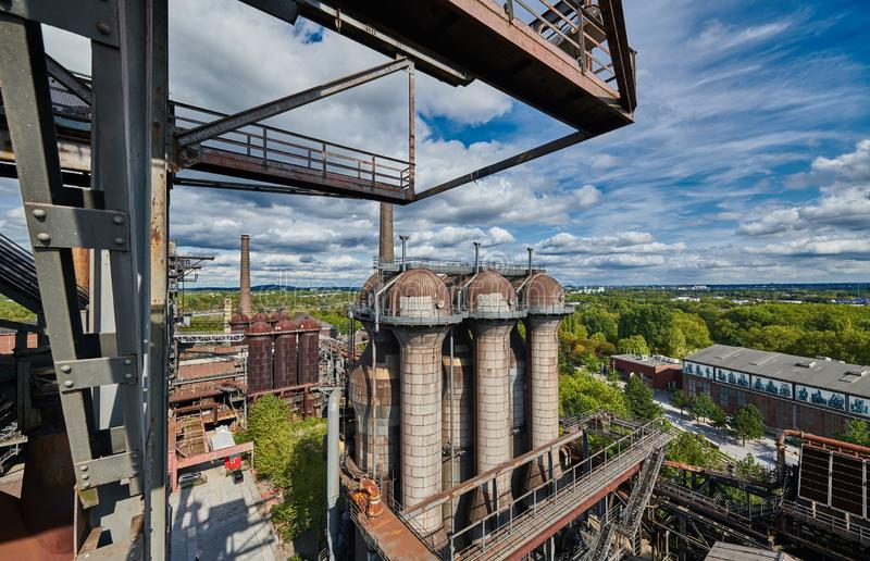 Industrial factory in Duisburg, Germany. Public park Landschaftspark, landmark and tourist attraction royalty free stock image