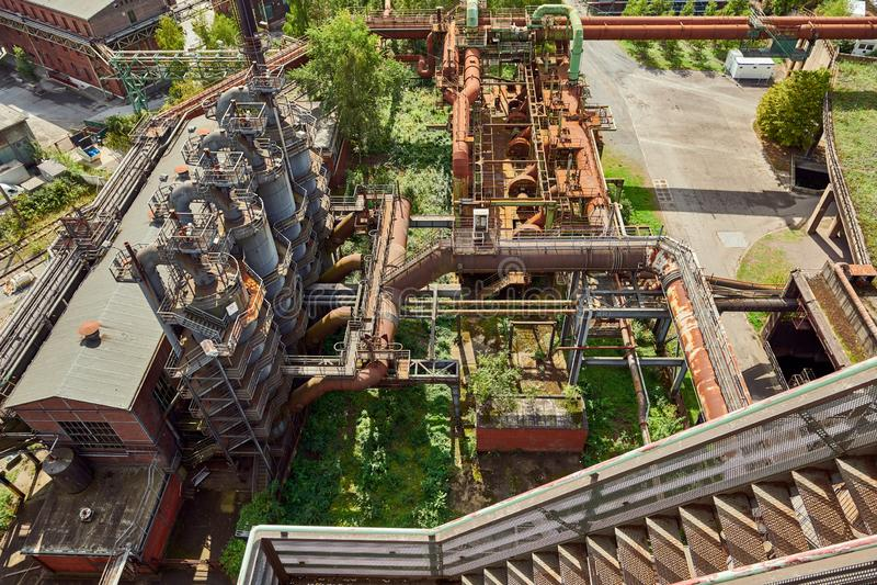 Industrial factory in Duisburg, Germany. Public park Landschaftspark, landmark and tourist attraction stock image