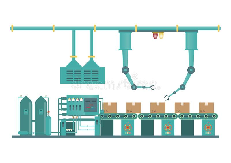 Industrial factory machine and manufacture process technology i vector illustration