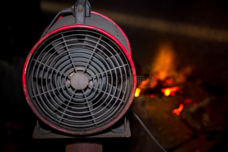 Industrial fan using hot scrap steel melting fan stock photos