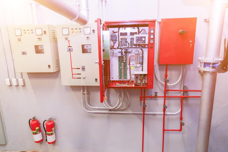 Industrial fire control system . Industrial fire control system , Fire protection and fire alarm equipment stock photography