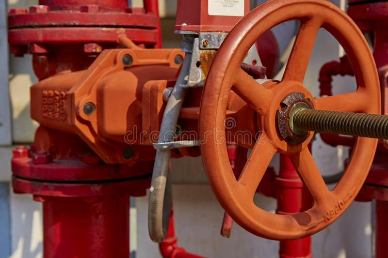 Industrial fire protection control valve. System stock image