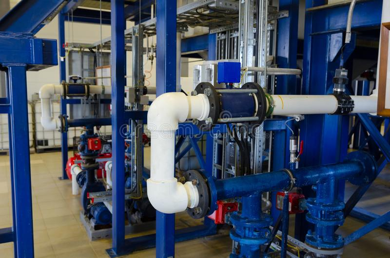 Industrial fire pump station for water sprinkler piping. And fire alarm control system stock photography