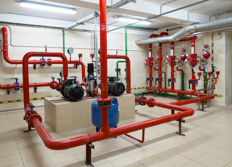 Industrial fire sprinkler station. And alarm system royalty free stock image