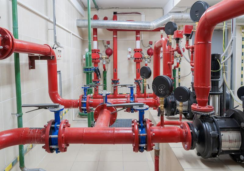 Industrial fire sprinkler station. And alarm system stock photos