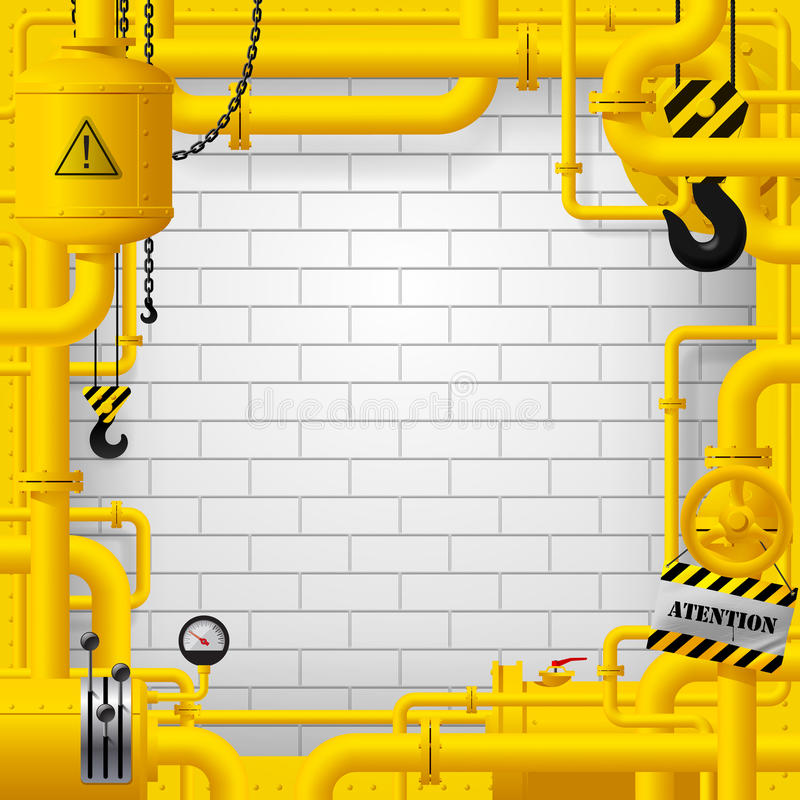 Industrial frame with yellow pipelines and other objects against royalty free illustration