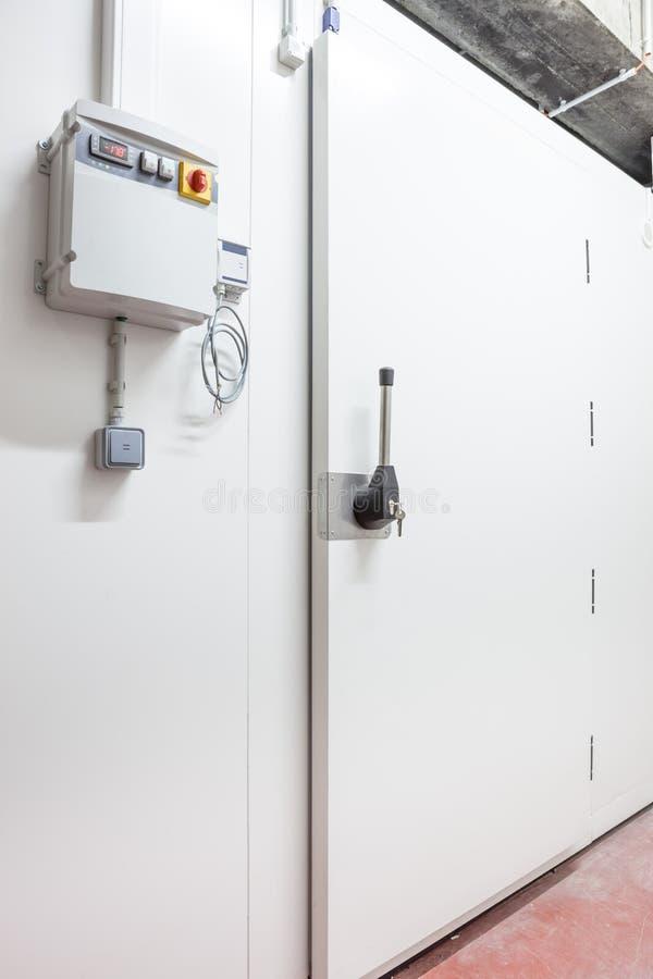 Industrial freezer door royalty free stock photo