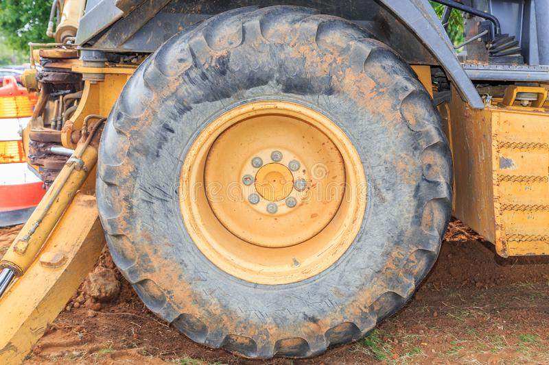 Industrial Front End Loader Tire. In its natural state as used royalty free stock image