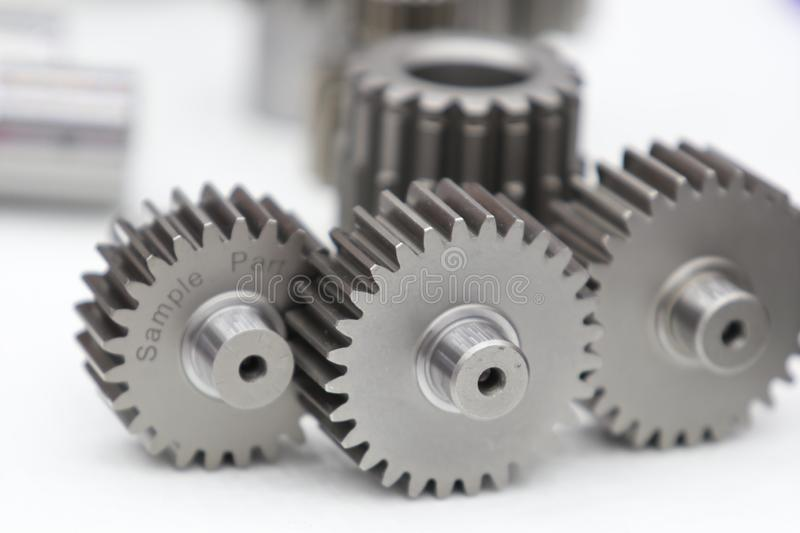 Industrial gear spare parts for heavy machine stock image