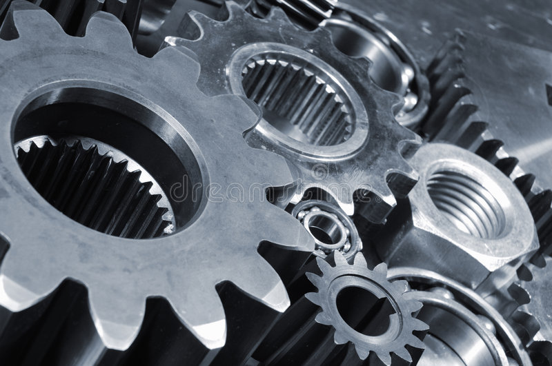 Industrial gears arrangement stock photography