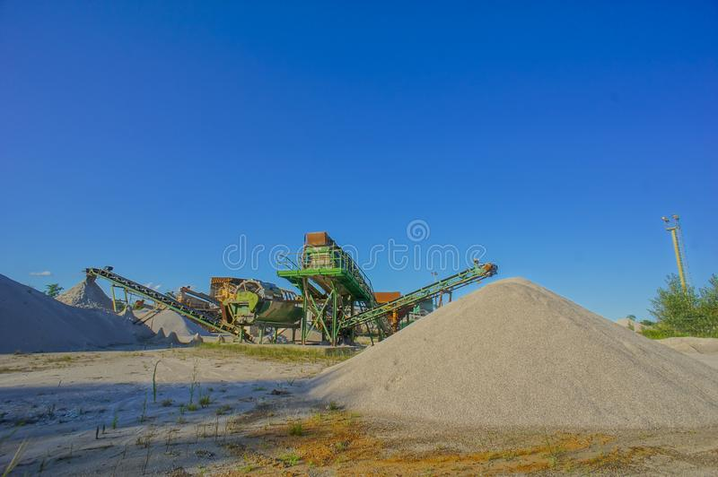 Industrial Gravel Quarry. And Sand Stone Refinery royalty free stock photography