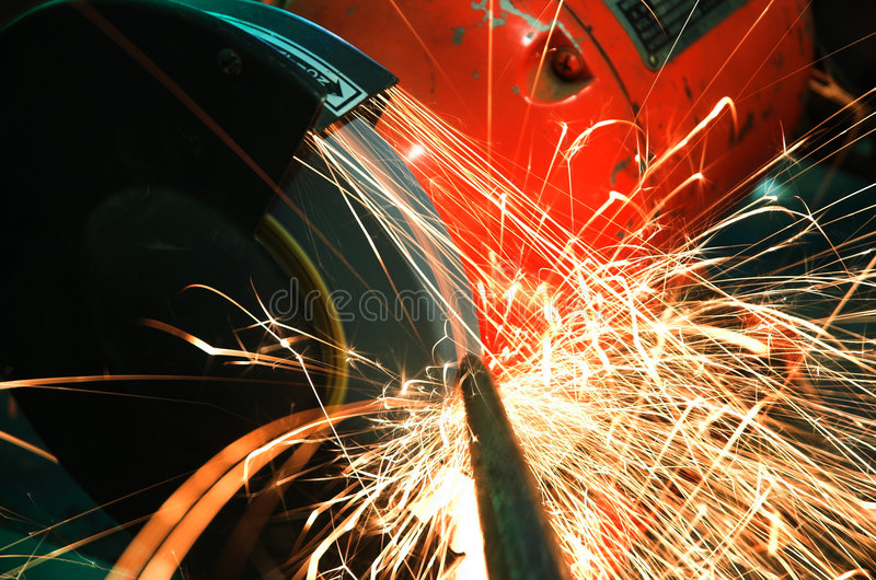 Industrial Grinder and Sparks royalty free stock image