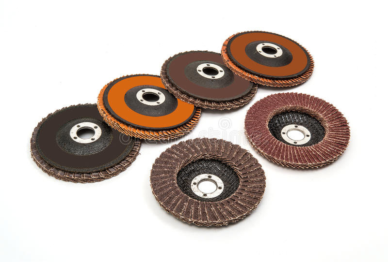Industrial grinding and polishing wheels set royalty free stock photography
