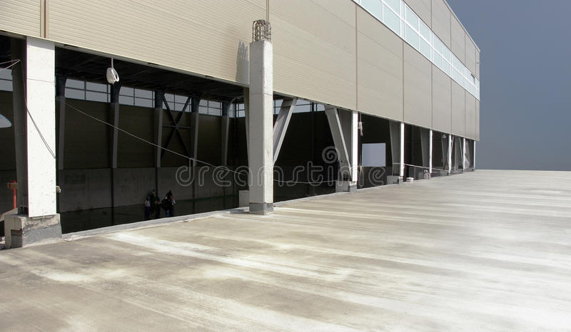 Industrial hall. A industrial hall under construction. House-building workshop stock photography