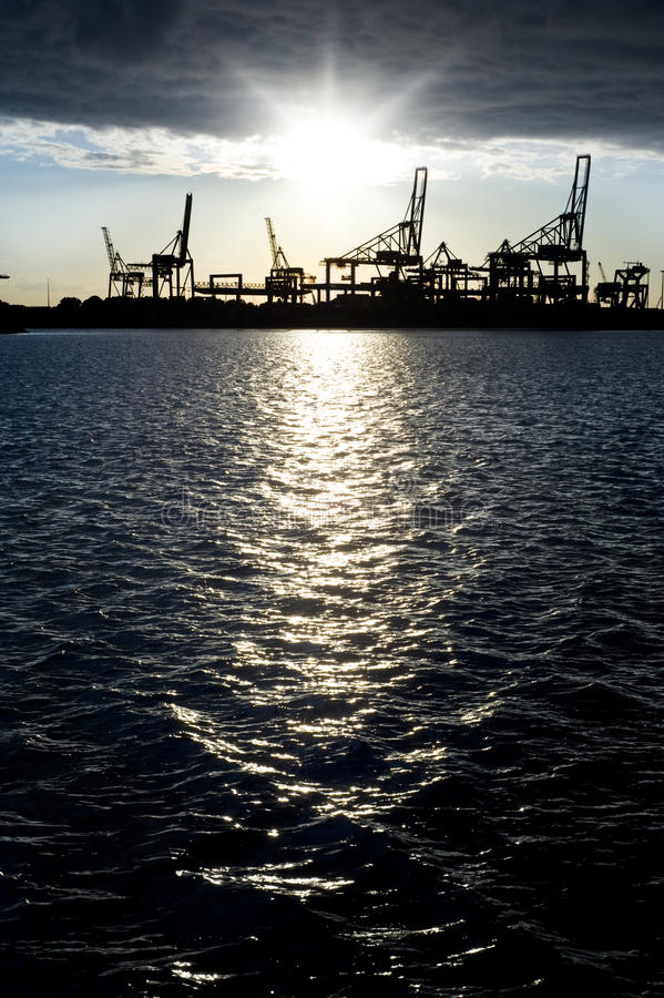 Industrial harbor silhouette royalty free stock image