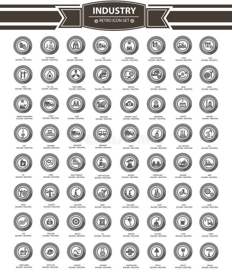 Industrial icon set,gray version royalty free illustration