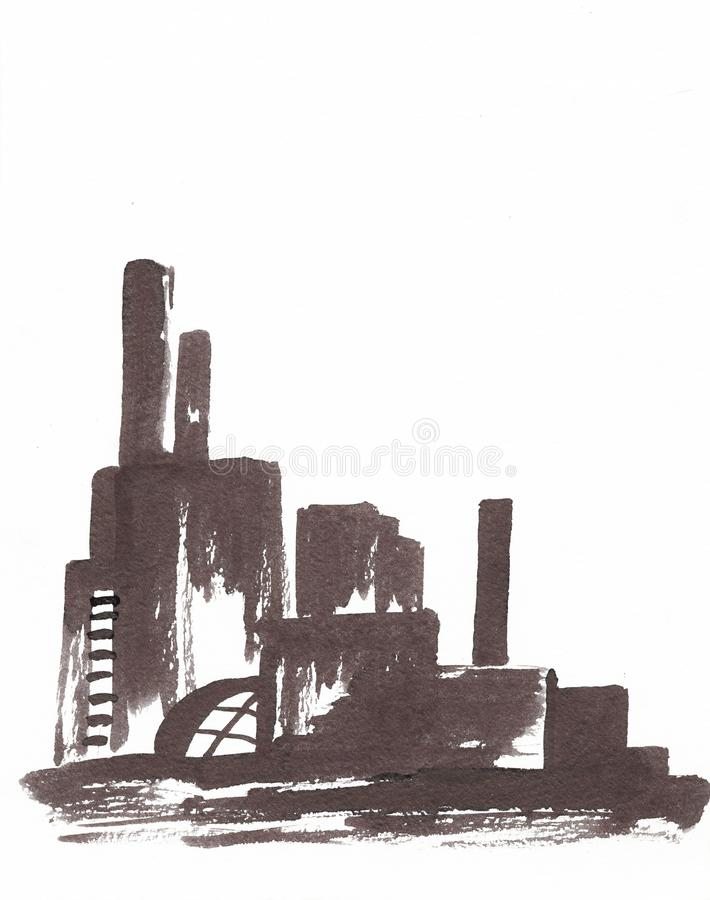 Industrial illustration with a factory, a factory with high pipes royalty free illustration