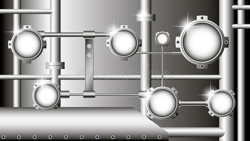 vector industrial illustration with metallic pipes stock illustration