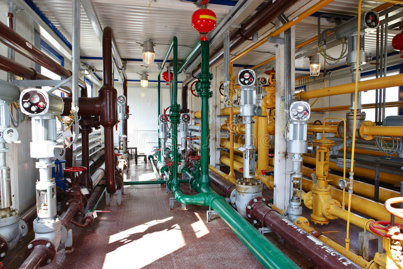 Industrial interior in oil and gas processing stock photos