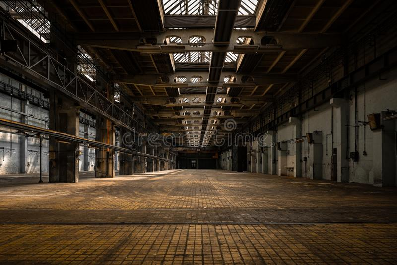 Industrial interior of an old factory. Building stock photography