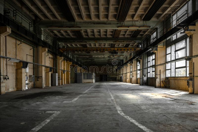 Industrial interior of an old factory. Building stock photos