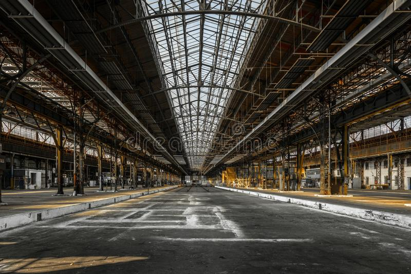 Industrial interior of an old factory. Building royalty free stock photos