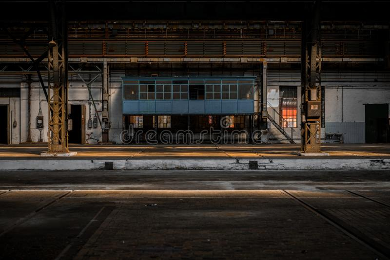 Industrial interior of an old factory stock photo