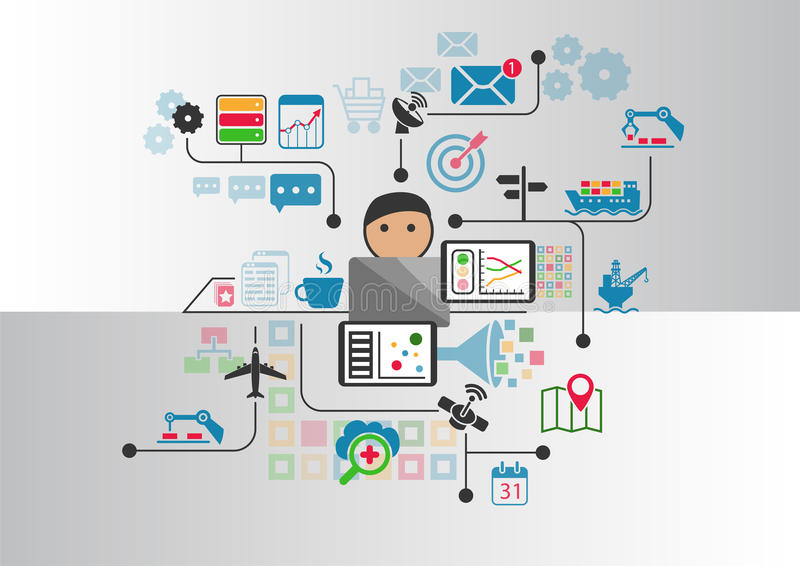 Industrial internet or industry 4.0 background with person controlling connected objects from notebook stock illustration