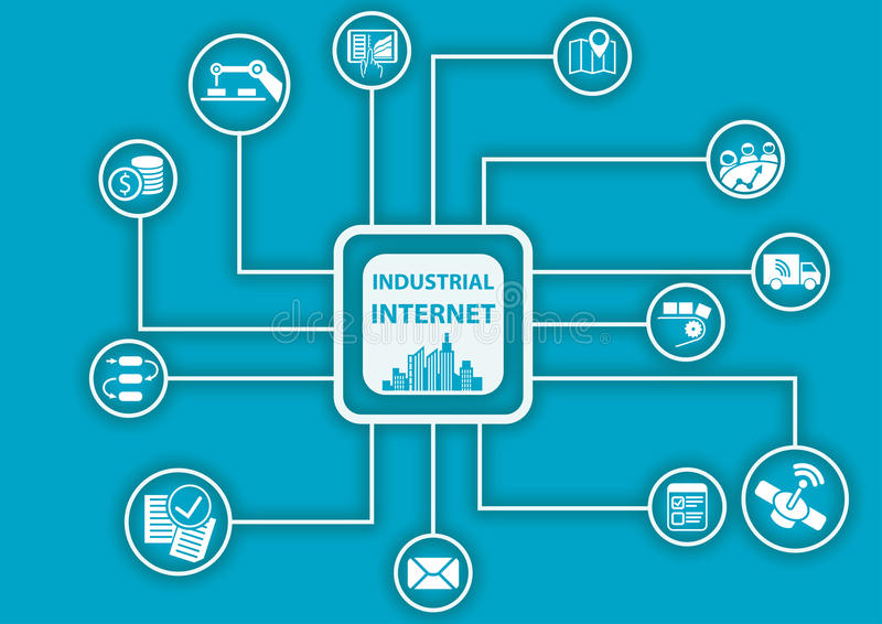 Industrial internet or industry 4.0 infographic. Vector illustration for connected devices using different symbols stock illustration