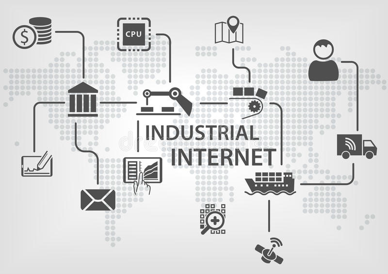 Industrial Internet (IOT) concept with world map and process flow for business automation. Of industries vector illustration