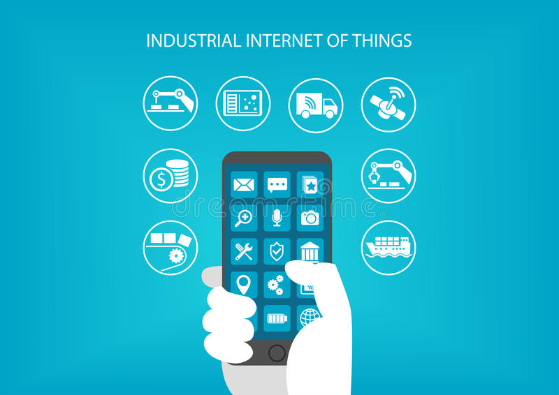 Industrial internet of things concept. Hand holding modern mobile device like smart phone. To connect to various objects and devices stock illustration