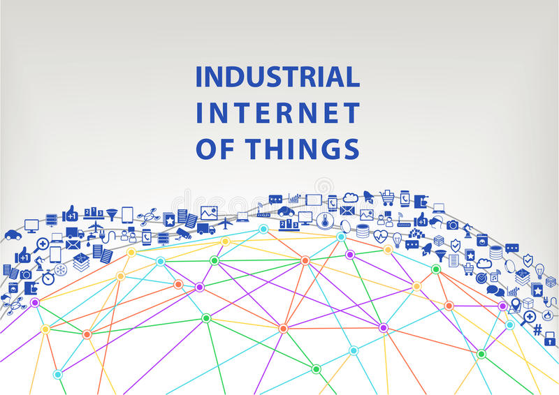 Industrial internet of things illustration background. World wide web concept. Visualized by globe wireframe and connections between different connected devices royalty free illustration