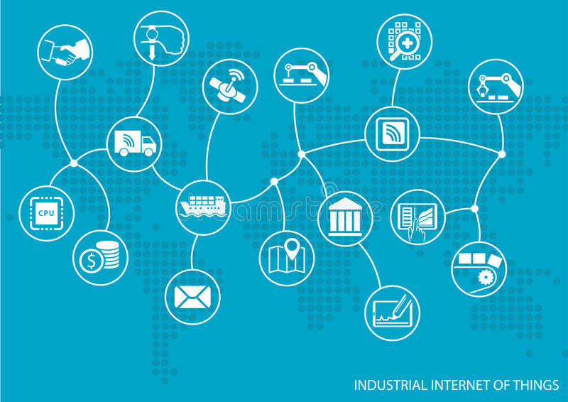 Industrial internet of things (IOT) concept. World map of connected value chain of goods. Including business process automation stock illustration